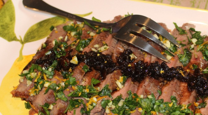 Balsamic-Glazed Flank Steak with Orange Gremolata | Foodie WineLover