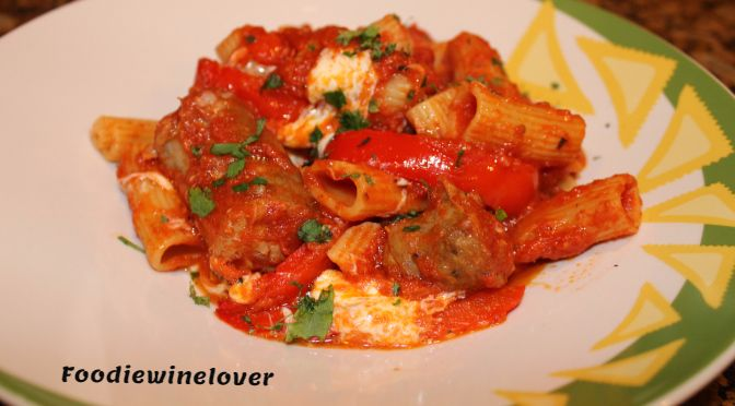 Rigatoni with Italian Sausage & Red Bell Peppers