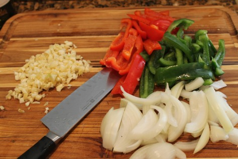 Prepping for Shrimp in Garlic Sauce with Bell Peppers