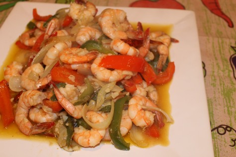 Shrimp in Garlic Sauce with Bell Peppers
