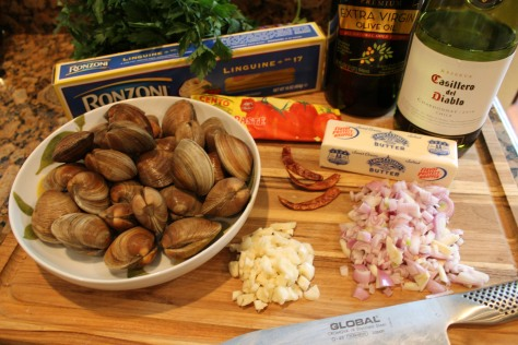Mise en place for Linguine with Clams in a Wine Broth