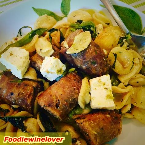 Orecchiette with Sweet Italian Sausage, Brocolli Rabe & Ricotta Salata