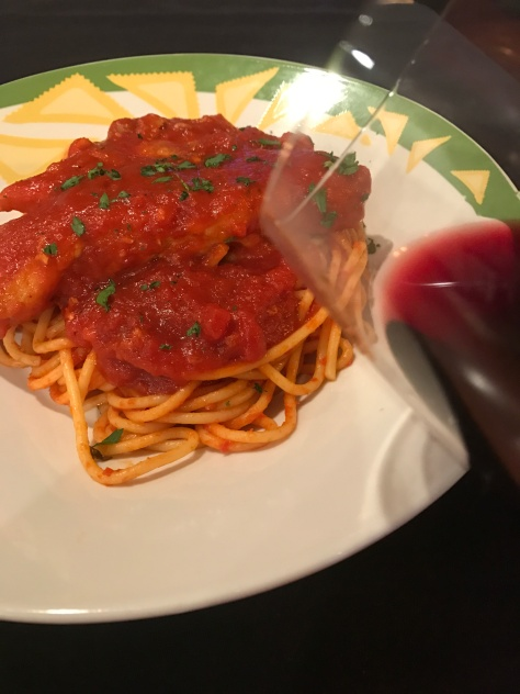 Gina's Delicious Pork Chops in Tomato Sauce over Pasta